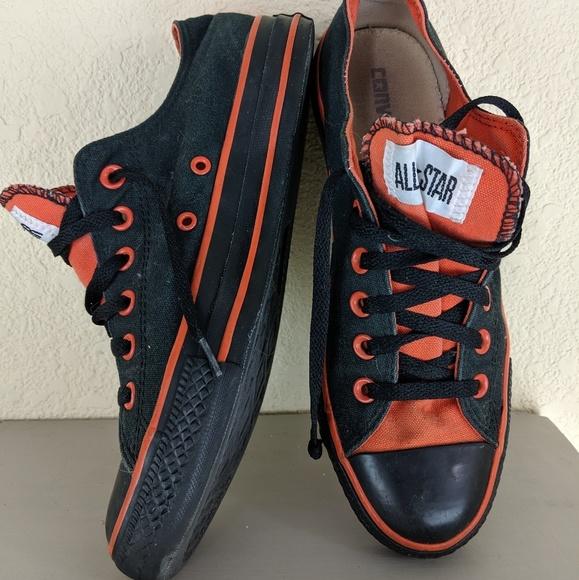black and orange converse